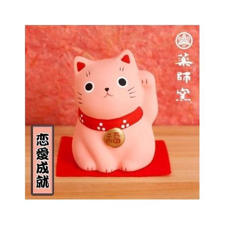 Maneki Neko ROSE en argile (h5.5cm)
