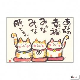 Carte MANEKI NEKO 3 amis (10x15cm)