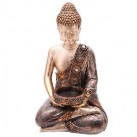 Bouddha porte bougie en résine (h19cm)