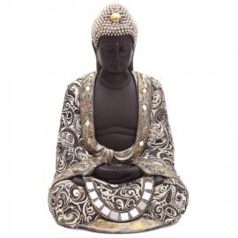 Bouddha assis en résine et tissus (h45cm)