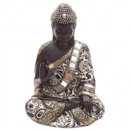 Bouddha assis en résine et tissus (h31cm)