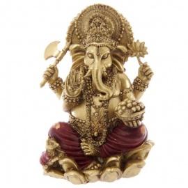 Ganesh assis sur lotus en résine rouge et or (h16cm)
