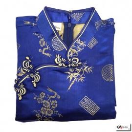 Robe chinoise (qipao 旗袍) courte manches courtes BLEU ROi motif 3 AMiS OR (50% soie & 50% polyester)