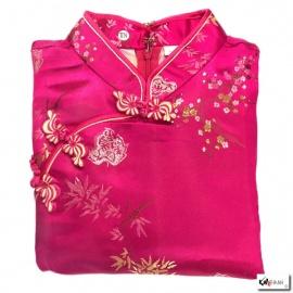 Robe chinoise (qipao 旗袍) courte manches courtes FUShiA motif 3 AMiS OR (65% polyester & 35% coton)