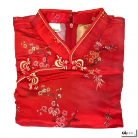 Robe chinoise (qipao 旗袍) courte manches courtes ROUGE motif 3 AMiS (50% soie & 50% polyester)
