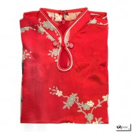 Robe goutte enfant imprimé FLEURS & PAON rouge