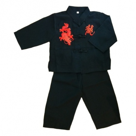 Ensemble chinois Kung-fu / Tai-chi noir brodé DRAGON & KANJi rouge enfant