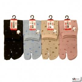 Chaussettes à orteil japonaises MANEKi NEKO brodé (extensible t34 à t39)