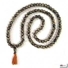 Collier mālā en os de buffle OM noir 108 perles de 10mm