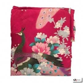 Kimono cache-coeur satiné imprimé FLEURS & PAON rouge foncé (72cm)