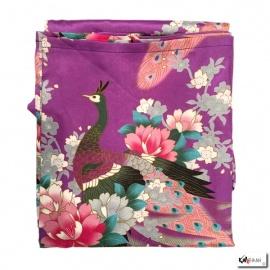 Kimono cache-coeur satiné imprimé FLEURS & PAON violet (72cm)