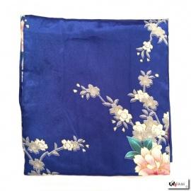 Kimono cache-coeur satiné imprimé FLEURS & PAON bleu marine (72cm)