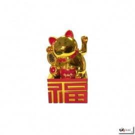 Maneki Neko animé sur socle Bonheur 10.5cm doré