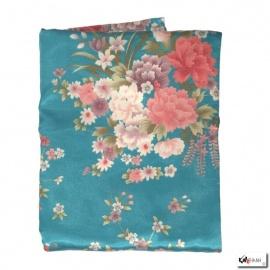 Kimono court satiné 2 poches imprimé FLEURS bleu clair (90cm)