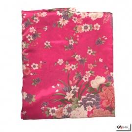 Kimono court satiné 2 poches imprimé FLEURS fushia (90cm)