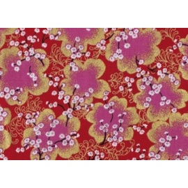 Tissus au mètre FLEURS de CERiSiER rouge et doré 100% coton (Japon)