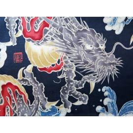 Tissus au mètre GRAND DRAGONS bleu 100% coton (Japon)