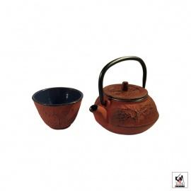 Set tasse et théière en fonte chinoise 3 AMiS 0.30L rouge foncé