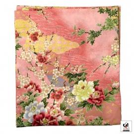 Yukata long FLEURS rose 100% coton