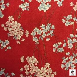 Tissus au mètre CERiSiERS rouge 100% coton (Japon)