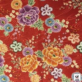 Tissus au mètre FLEURS rouge 100% coton (Japon)