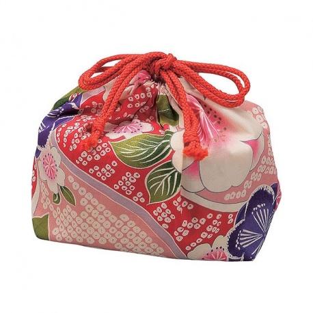 Bourse à bento KiMONO nishijin rose (15x9cm)