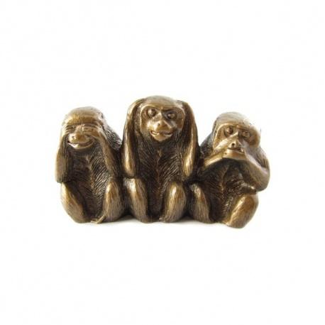 3 singes en résine doré (h5cm)