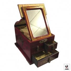 Coffret à bijoux avec miroir et 3 tiroirs BONhEUR avec FLEURS & OiSEAU (L23xP29xh20cm)