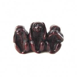 3 singes en résine marron (h5cm)
