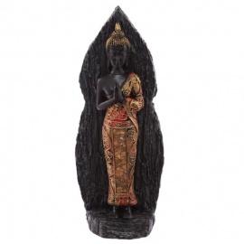 Bouddha debout en résine rouge et or effet boisé (h30cm)