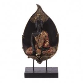 Bouddha assis sur feuille en résine rouge et or (h26cm)