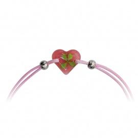 Bracelet ajustable TRèFLE VéRiTAbLE coeur rose