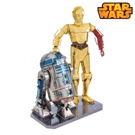 Miniature à monter en métal Star Wars R2-D2 et Z6-PO (h12.3cm)