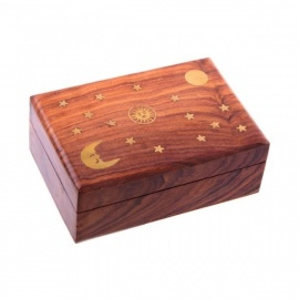 Boîte en bois de sheesham ETOiLES, LUNE et SOLEiL (L15.5cm)