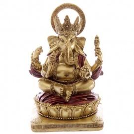 Ganesh assis sur lotus en résine rouge et or (h14cm)