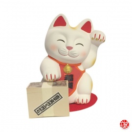 Tirelire maneki neko HAPPY NYANKO BANK en argile (h13cm)