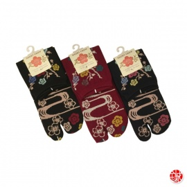 Soquettes à orteil japonaises FLEURS de PRUNiER (extensible t34 à t39)