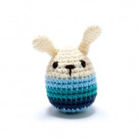 Hochet LAPiN bleu en crochet fait main 100% acrylique (h10cm)
