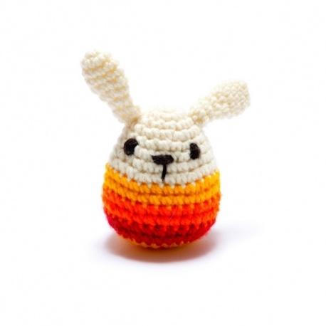 Hochet LAPiN rouge en crochet fait main 100% acrylique (h10cm)
