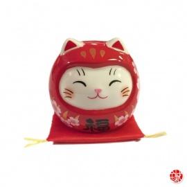 Maneki Neko DARUMA SAKURA rouge (h5.2cm)