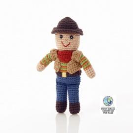 Hochet peluche COWbOY en crochet fait main 100% coton (h18cm)