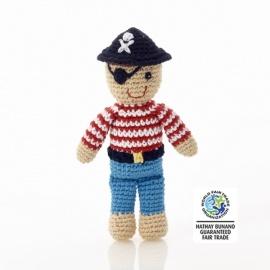 Hochet peluche PiRATE en crochet fait main 100% coton (h18cm)