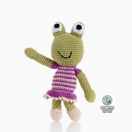 Hochet peluche GRENOUiLLE garçon en crochet fait main 100% coton (h18cm)