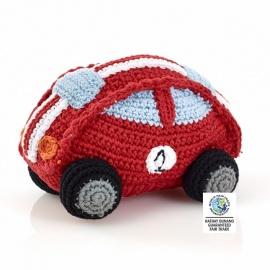 Hochet peluche VOiTURE de COURSE en crochet fait main 100% coton (h12cm)