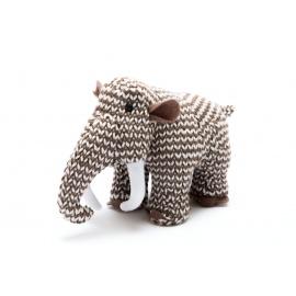 """Hochet peluche dinosaure MAMOUTH """"MONTY"""" en crochet fait main 100% acrylique (h9cm)"""