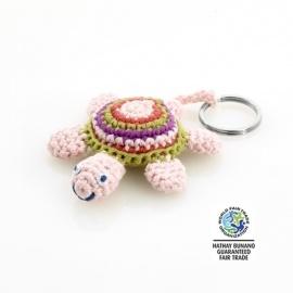 Porte-clés TORTUE rose en crochet fait main 100% coton (L9cm)