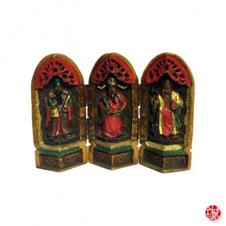 Triptique 3 Dieux du Bonheur (Prospérité 福, Richesse 禄, Longévité_壽) en résine peint à la main (h12.5cm)