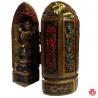 Triptique Kwan-Yin (觀 音 Déesse de la Miséricorde) en résine peint à la main (h14.5cm)