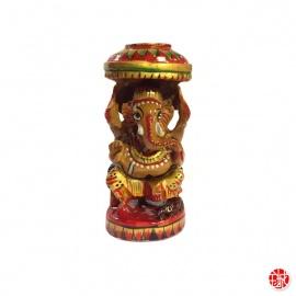 Ganesh assis sous un parasol en bois sculpté et peint à la main (h11cm)