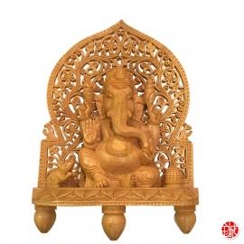 Ganesh assis en bois sculpté main (h31cm)
